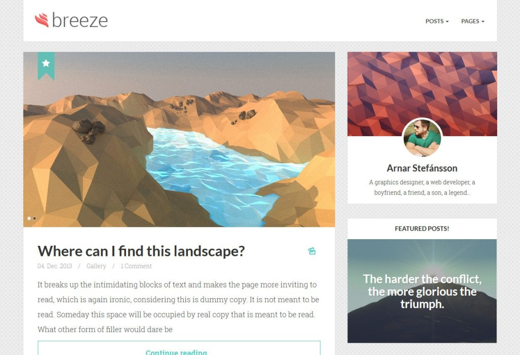 breeze WordPress personal blog theme